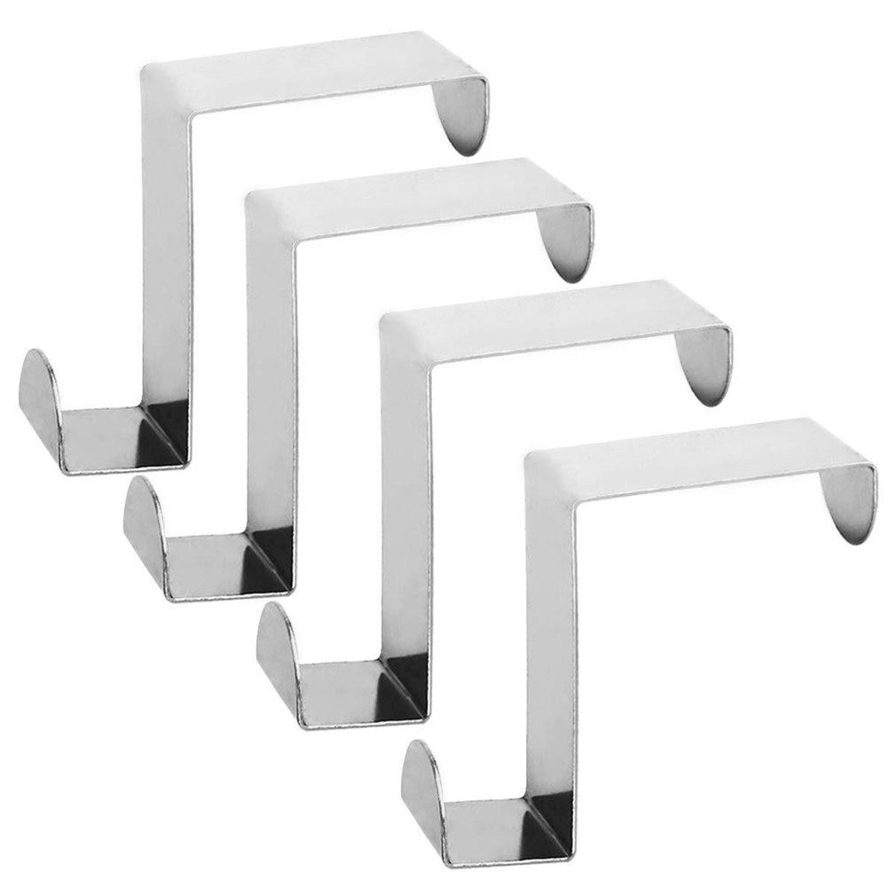 4pcs Stainless Steel Z Type Reversible Removable Door Hook Hanger Coat Hook Door Back Cabinet Door Creative Hook