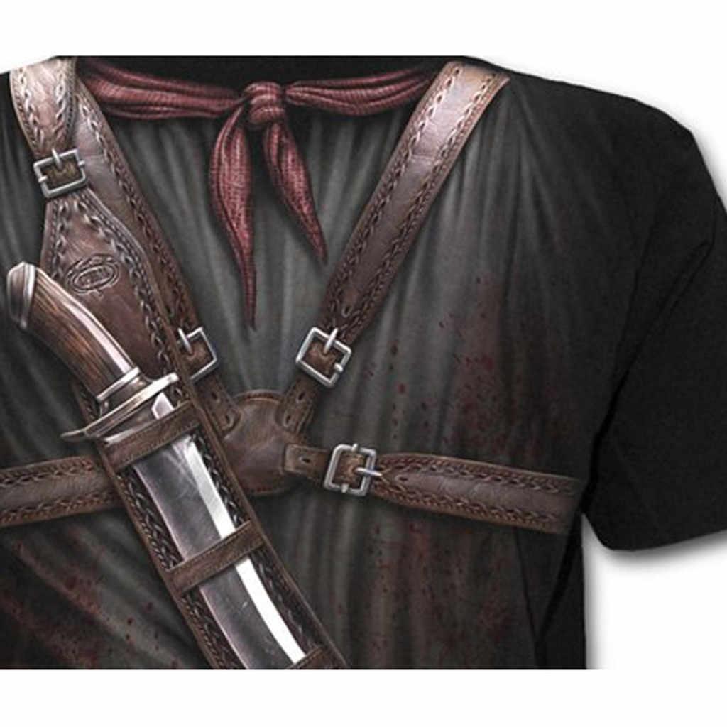 2019 camisetas para hombres nueva moda verano vaquero occidental impresión cuello redondo Delgado Fitness manga corta blusa Cool # YL10