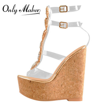 Onlymaker Women Ankle Strap Peep Toe Buckle Cutout Gem Clear   Transparent Strip Rhinestones Wedge PVC Sandals