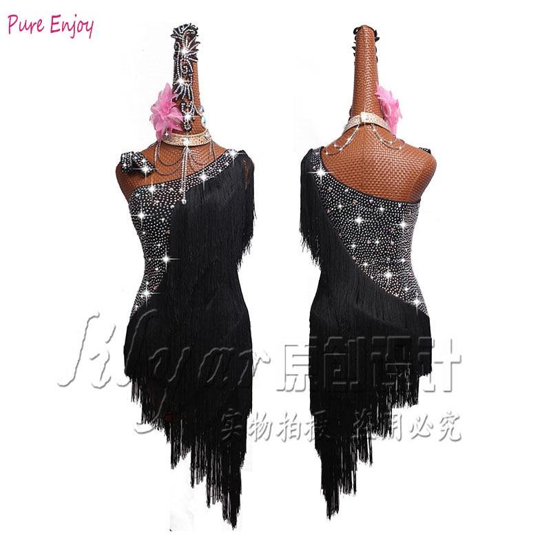 Latin dance dress competition dress black shoulder skirt shiny latin dance rumba dance competition tassel dress black blue