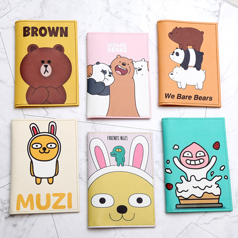 Fashion Cute Bear Animals Cartoon Passport Cover Men Women Leather Travel Passport Holder Case Card ID Holders Passport Packet