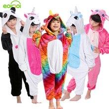 2017 New Baby Boys Girls Pajamas Autumn Winter Children Flannel Animal funny animal Stitch panda Kid Onesie Sleepwear