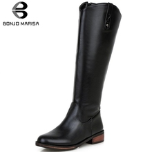 BONJOMARISA Brand New Big Size 32-43 Elegant Knee High Boots Women 2019 Black Riding Boots Ladies Casual Low Heels Shoes Woman цена в Москве и Питере