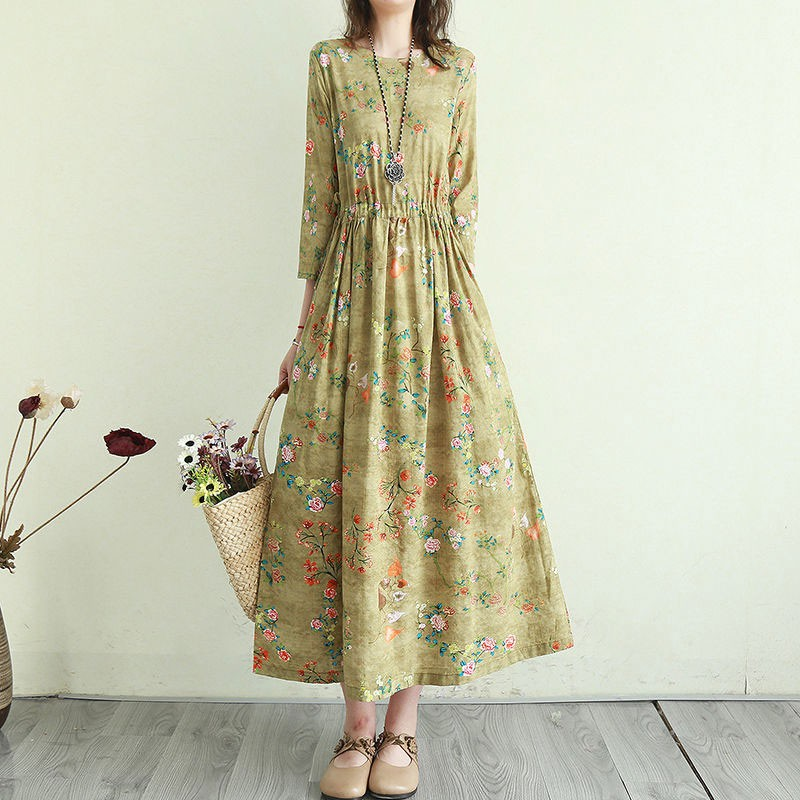 Women Cotton Linen Casual Dress New Arrival 2021 Summer Vintage Style Floral Print Ladies Elegant A-line Long Dresses T001