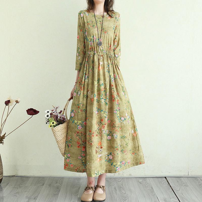 Women Cotton Linen Casual Dress New Arrival 2021 Summer Vintage Style Floral Print Ladies Elegant A-line Long Dresses T001