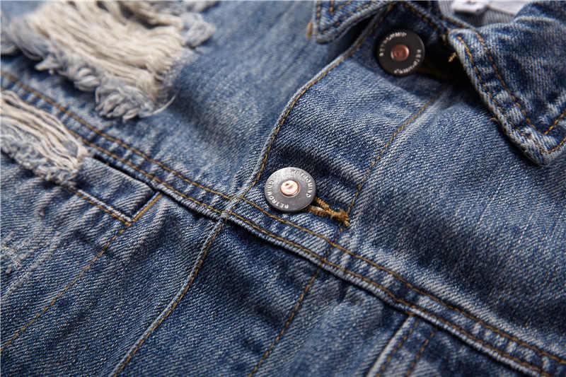 EWQ/남성 의류 2020 봄 여름 조수 남성 구멍에 대 한 특대 블루 데님 자 켓 느슨한 큰 크기 코트 streetwear 패션 9Y1454