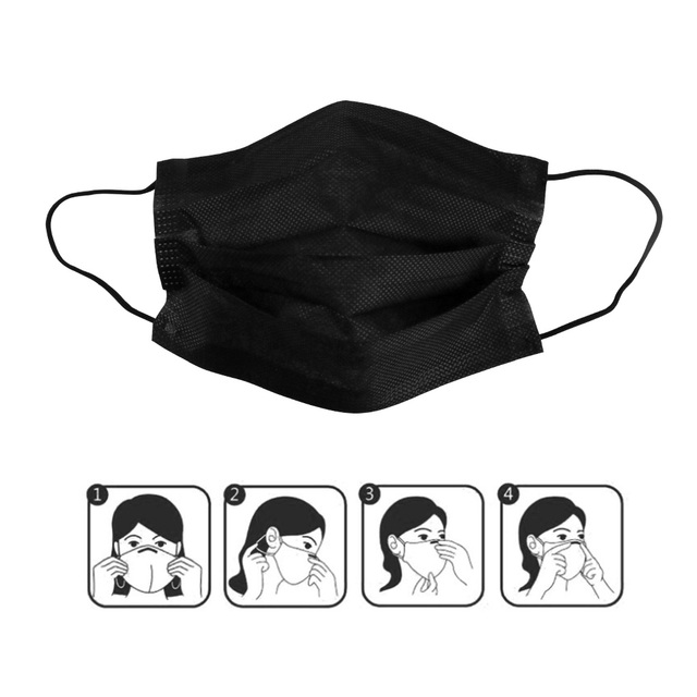 10/20/50/100Pcs Mouth Mask Disposable Black Cotton Mouth Face Mask Non-woven Mask Earloop Activate 1