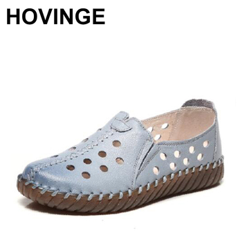 HOVINGEWomen's Flats Shoe Genuine Leather Female Shoe 2019 Spring Summer Women Shoes Cut Out Hollow Out Casual Shoes