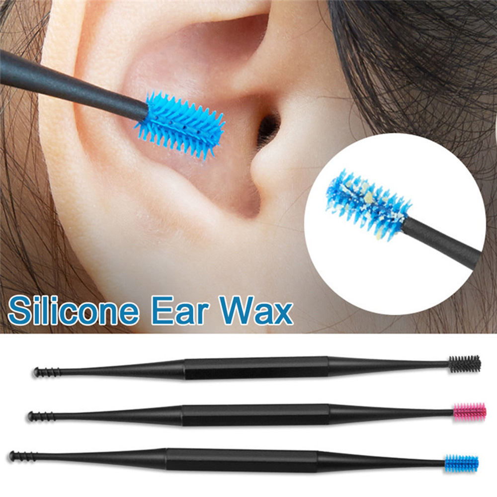 Double Head Silicone Ear Pick Double-ended Earpick Ear Wax Curette Remover Ear Cleaner Spoon Spiral Ear Clean Tool Spiral Design
