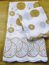 African Swiss Voile Lace Fabric 5 Yards and Scarf 2 High Quality White And Gold Nigerian Cotton Material For Dresses