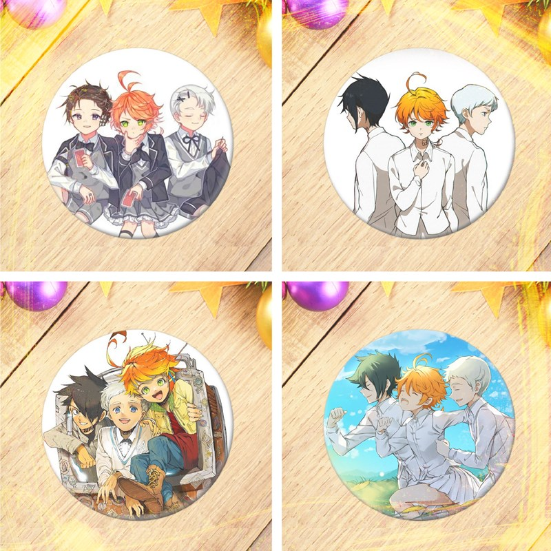 The Promised Neverland Brooches Badge Anime Cartoon Figure Round Metal Display Brooch Pin Jewelry|Customized Brooches|   - AliExpress