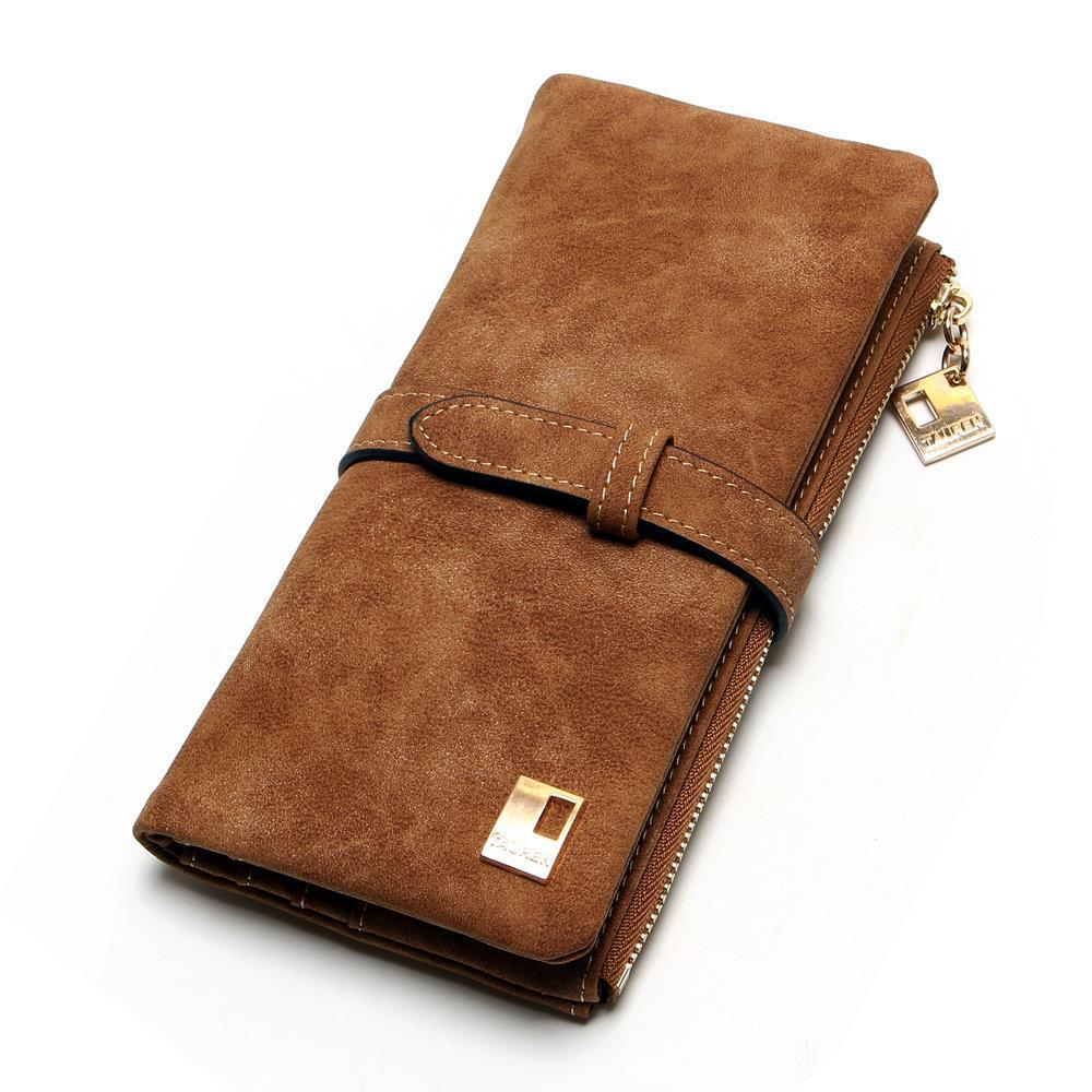 Luxury Purple Drawstring Nubuck PU Leather Long Women's Wallet Fashion Designer Purse High Quality Female Gift Money Bag