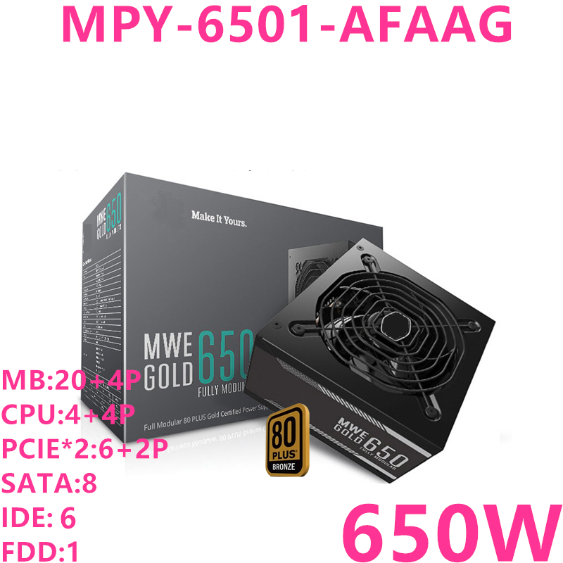 New PSU For Cooler Master Brand MWE GOLD 650 Full Module ATX RTX2080 Game Host Power Supply 650W Power Supply MPY 6501 AFAAGPC Power Supplies   -