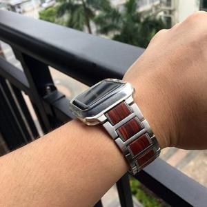 Image 5 - Bracelet en bois pour Apple watch, en bois de santal rouge + acier inoxydable, bracelet de Apple watch série 5 4 3 38, 42, 44mm