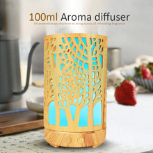 100ml USB hollow electric humidifier aroma diffuser ultrasonic wood grain air humidifier with 7 color LED light home