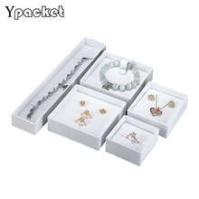 Customized LOGO 50pcs/Lot White Black Box Jewelry Square Jewelry Organizer Box Engagement Ring  Earrings Necklace Bracelet