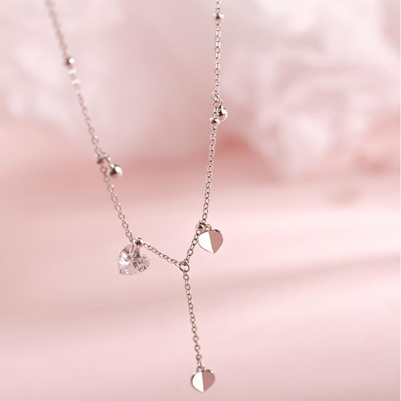 Fashion Love Heart Tassel Necklaces Ladies Simple Style Silver Color Clavicle Chain Necklaces For Women Accessories