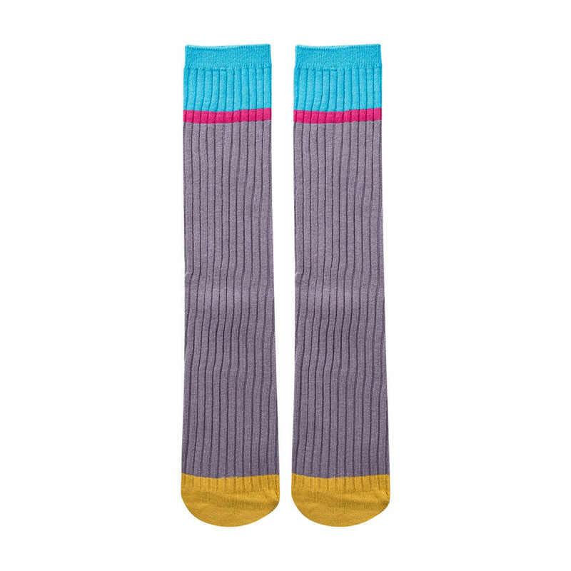 2020 nuevo bebé niñas lindo Loli colorido rodilla alta larga rayas algodón Casual medias 3-10Y