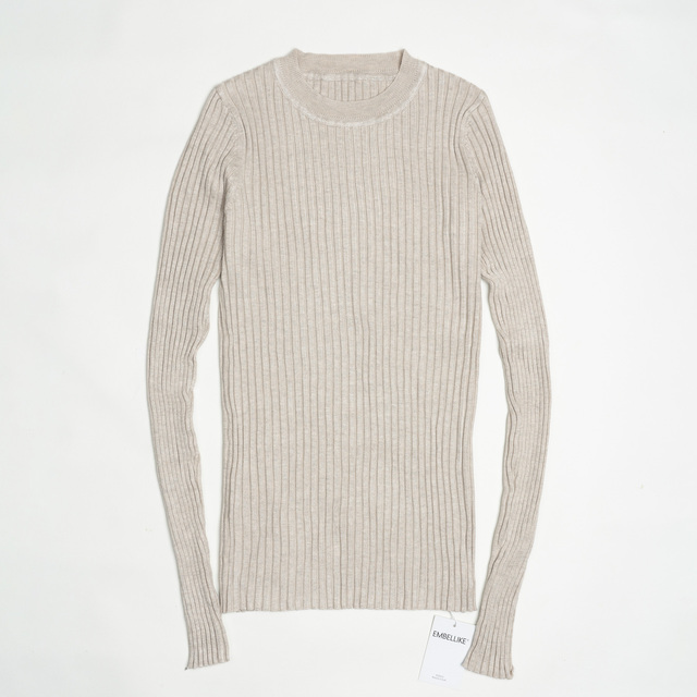 Women Sweater Pullover Basic Ribbed Sweaters Cotton Tops Knitted Solid Crew Neck With Thumb Hole 2