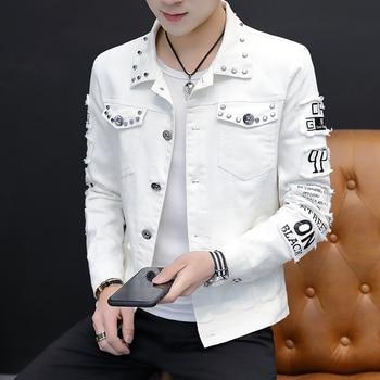 2020 Spring Fashion white denim jacket men korean clothes Slim spring Handsome rivet bomber