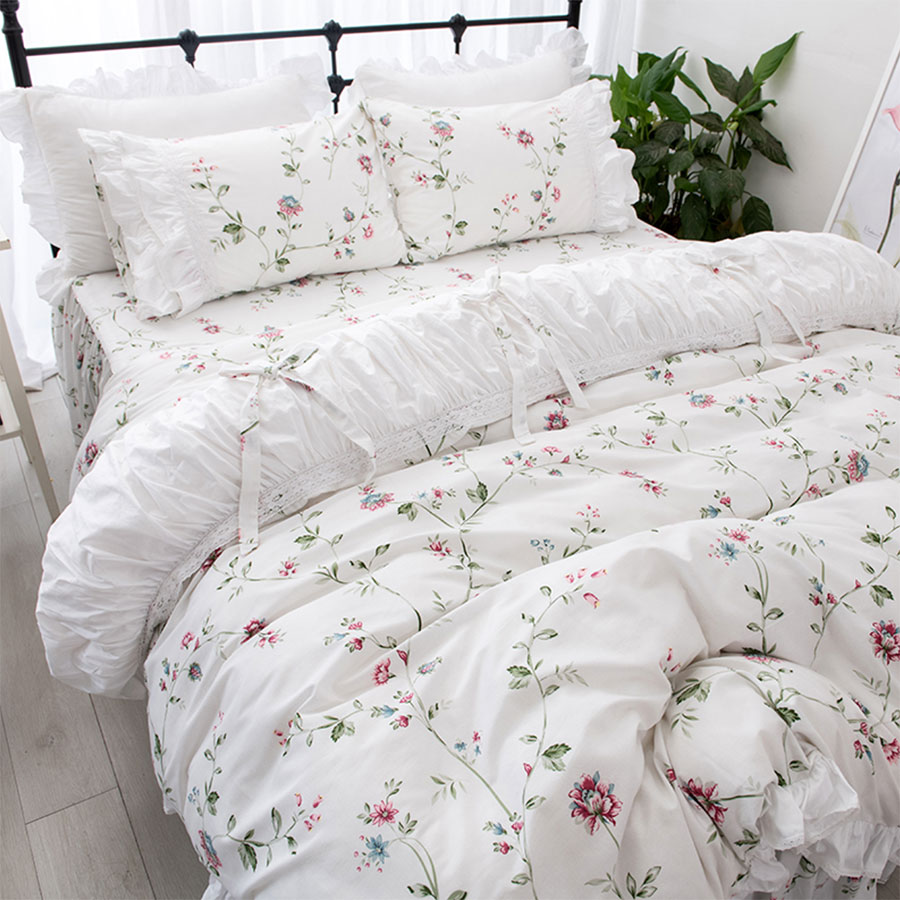 Elegant Pastoral Bedding Set, Twin Full Queen King Cotton Romantic Single Double Home Textile Bed Skirt Pillow Case Quilt Cover