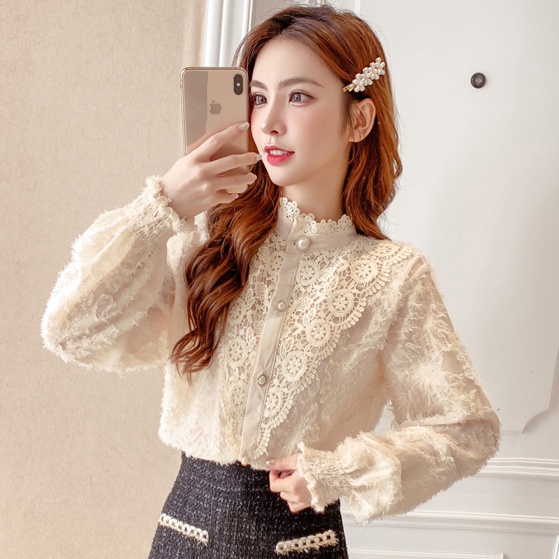 New Spring Cute Shirt Womens Tops Stand Neck Full Sleeve Lace Reduction Age Jacquard Women Shirts White Black Apricot 7351