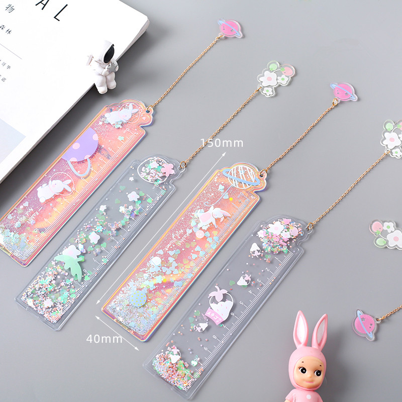 12CM Cute Oil Ruler Quicksand Bookmark Measuring Straight Rulers Pendant Bookmarks Gift Stationery Drafting Supplies