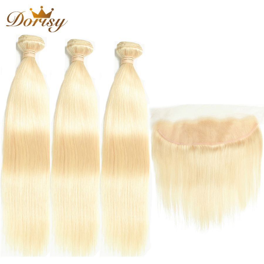 613 Blonde Bundles With Frontal Brazilian Straight Hair With Frontal Remy Blonde Human Hair Lace Frontal Closure With Bundles