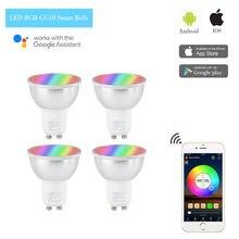 4PACK GU10 LED Smart Bulb WIFI Light Bulb RGBW Dimmable Work for Amazion Alexa Google Home IFTTT Andriod iOS, 6W 110V 220V