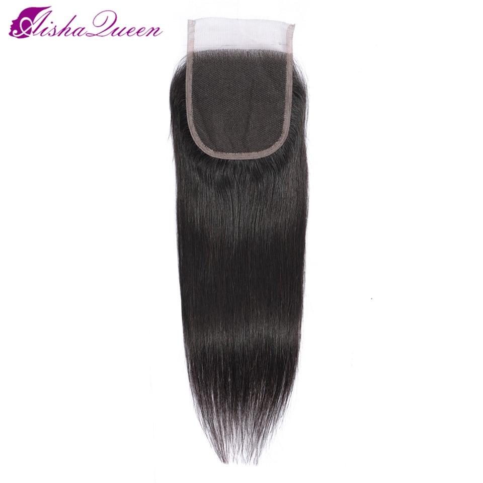 Aisha Königin 4*4 Spitze Verschluss Frei/Middle/Drei Teil Schweizer Spitze Mittlere Braune Spitze Farbe Verschlüsse nicht Remy Brazilian Haar