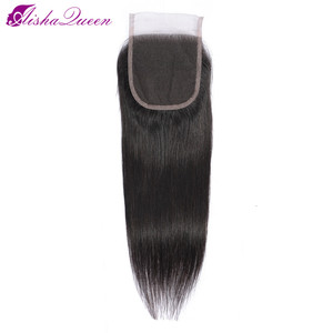 Aisha Queen 4*4 Lace Closure Free/Middle/Three Part Swiss Lace Medium Brown Lace Color Closures Non-Remy Brazilian Hair