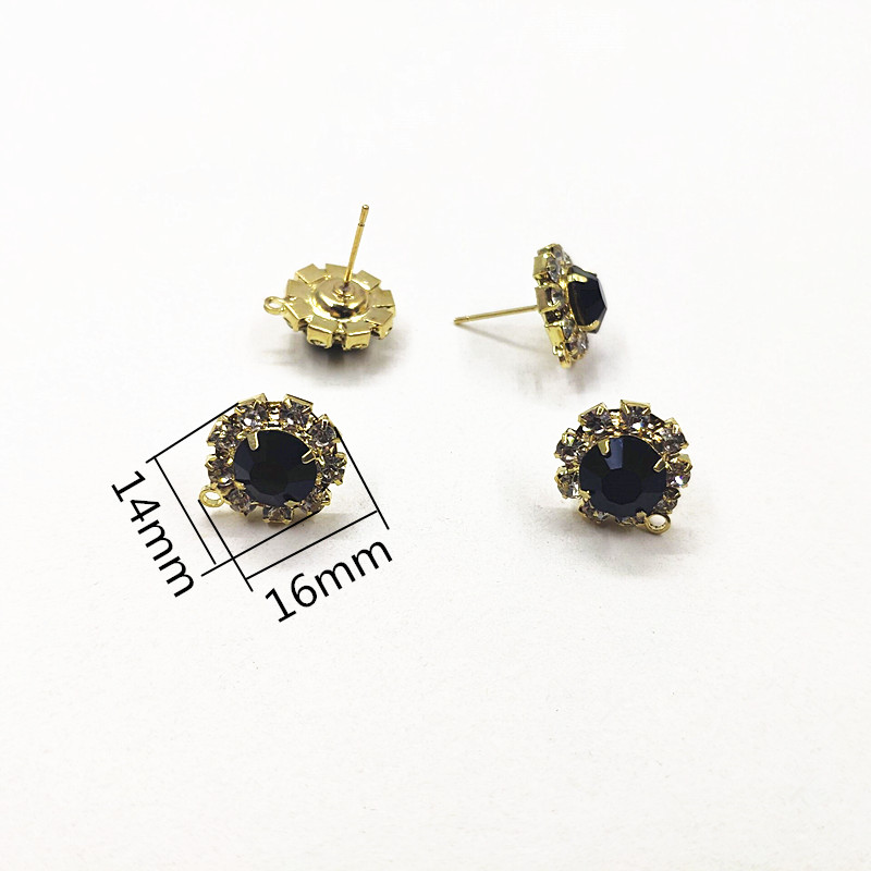 Image 2 - New arrival! 14x16mm 100pcs Rhinestone Claw Chain Round shape Earrings Studs for Necklace,Earrings parts,hand Made Jewelry DIYJewelry Findings & Components   -