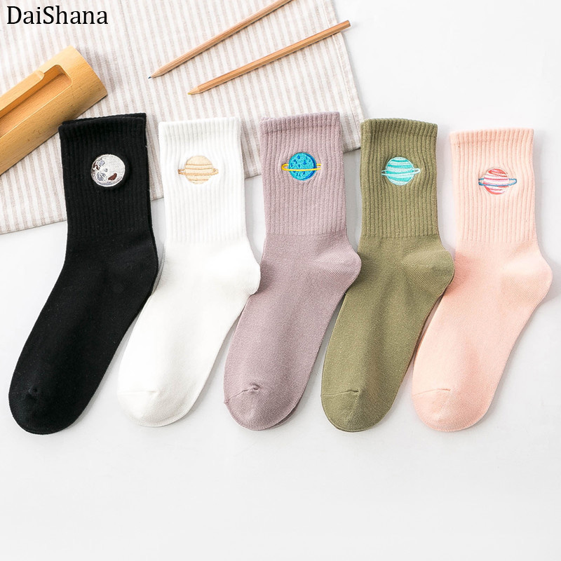 Hot Sales Funny Socks Women Socks High Quality Casual Cartoon Moon Planet Embroidery Sock Happy Harajuku Cotton Soken Skarpetki