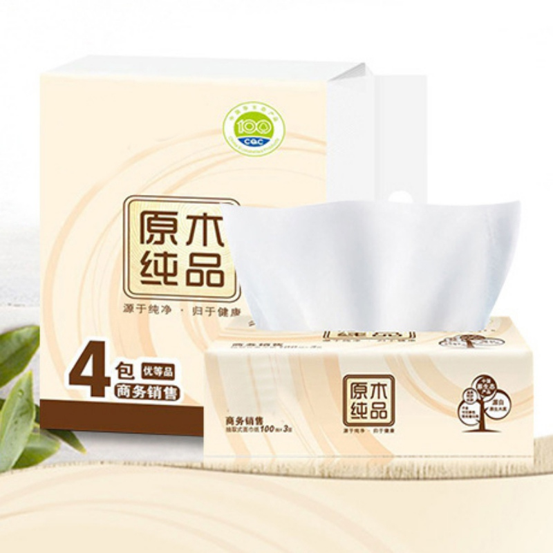 4pc / Bag Breeze Pumped Paper Logs 4 Packs 100 Mentions 3 Pumps 3 Layers Of Tissue Paper Toilet Paper Pumped Napkins Tissue