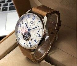 Szafirowy kryształ 43mm PARNIS biała tarcza rezerwa chodu automatyczny mechanizm samoczynnego wiatru mechaniczny zegarek męski skórzany Starps pa94-p8