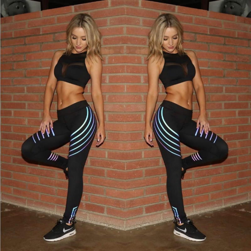 Noctilucent Yoga Leggings Quick Dry Yoga Pants Women Leggins Sport Women Fitness Night Glowing Tights Leggings Sport Fitness