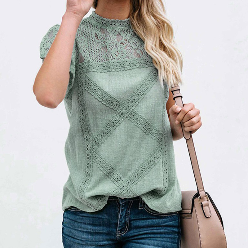 Women's Round Neck Floral Lace Hollow Out Short Sleeve Pullover T-Shirt