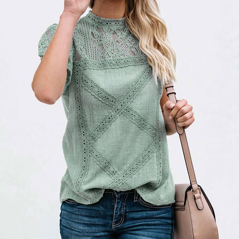 Korean Women Knitted Short Sleeve Slim Beaded Button Ice Silk Tee T-Shirt