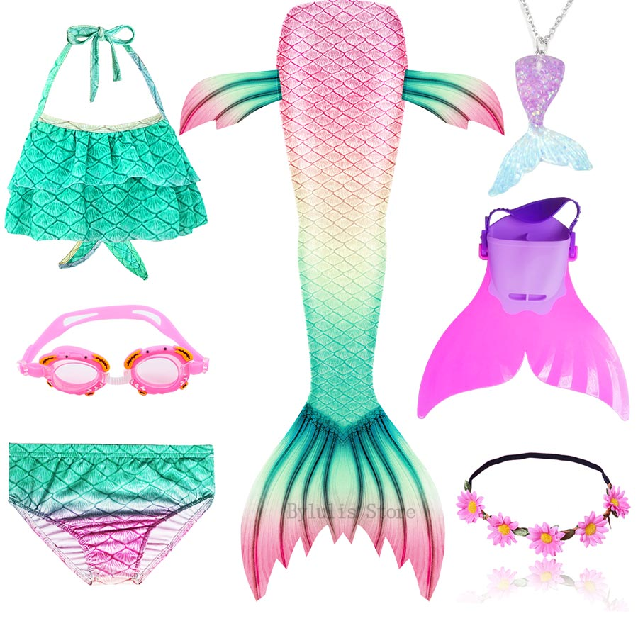 H202c5d4e858e46c689fd5d28b94b21b9V - Kids Swimmable Mermaid Tail for Girls Swimming Bating Suit Mermaid Costume Swimsuit can add Monofin Fin Goggle with Garland