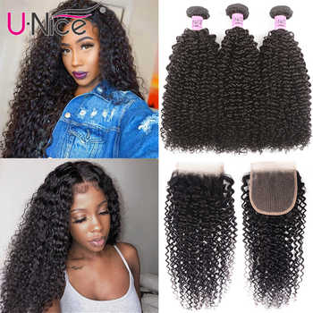 UNICE Hair Brazilian Kinky Curly Bundles With Closure 3 Bundles Human Hair With Closure Mink Remy Hair Weave Bundles - DISCOUNT ITEM  30% OFF All Category