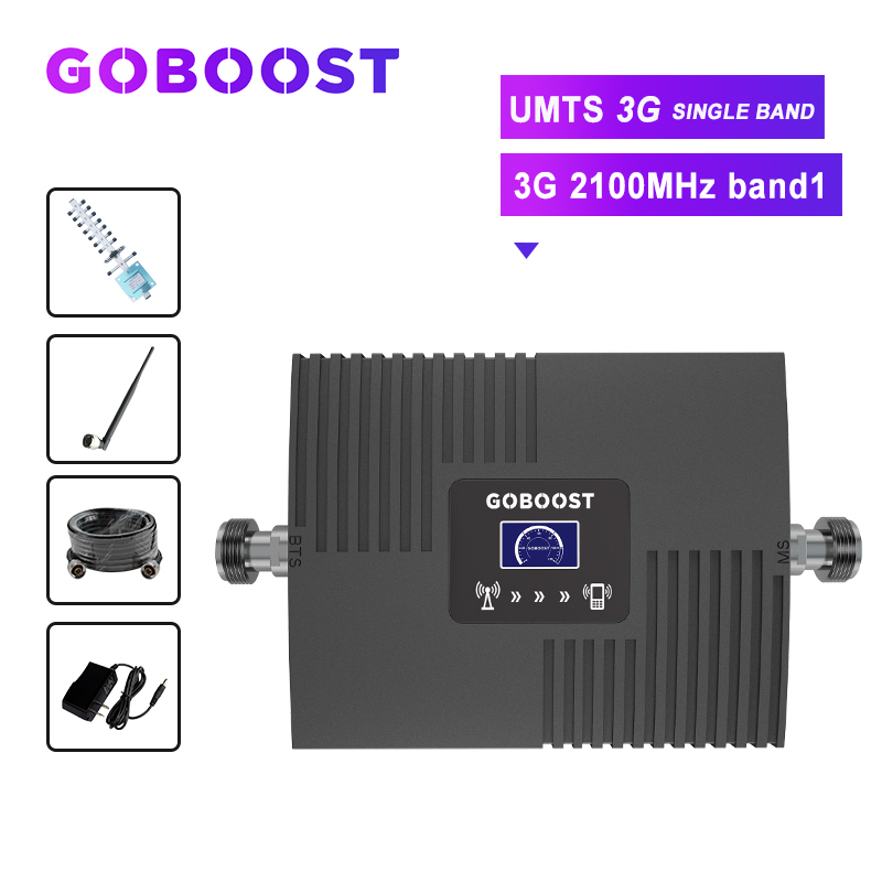 3G Cellular Signal Repeater UMTS 2100MHZ Cellphones Booster Signal 3G Amplifier Band1 LCD Display Yagi+Whip Antenna 10m Cable #