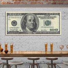 100 Dollar Vintage Poster Retro franklin Bills Banknotes Realistic Fake Money Living Room Decorative Wall Art Canvas Painting