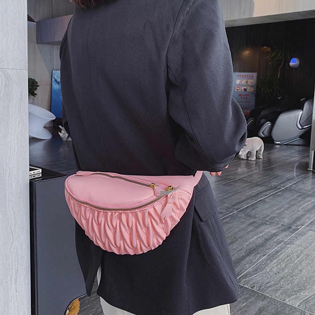 เอวแพ็คเก็ตสี pure PU หนังสีดำสีขาวแฟชั่นผู้หญิงนักเรียนกีฬากลางแจ้ง Zipper Messenger กระเป๋ากระเป๋าเอวกระเป๋า