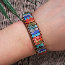Natural 7 Chakra Stone Leather Wrap Beaded Bracelets Handmade Fashion Men Women Flower Best Friend Healing Yoga Bracelet