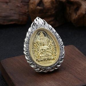 Image 4 - Büyük 925 gümüş sekiz buda heykeli kolye 925 ayar budist buda muska kolye 12 hayvanlar iyi şanslar kolye