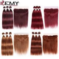 99J/бордовый пучки человеческих волос с фронтальной 13x4 предварительно цветные бразильские пучки прямых и волнистых волос с закрытием не-Remy ...