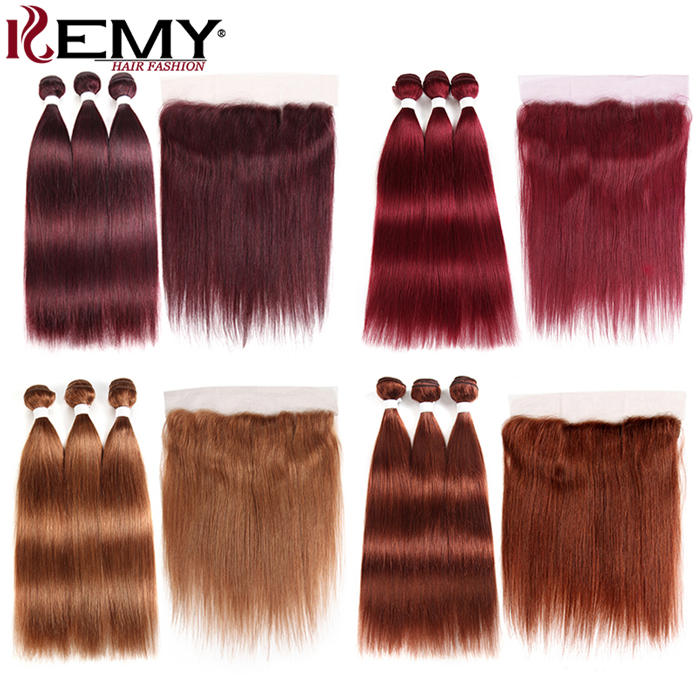 Human-Hair-Bundles Closure Frontal Straight 99j/burgundy Pre-Colored Brazilian with 13x4 title=