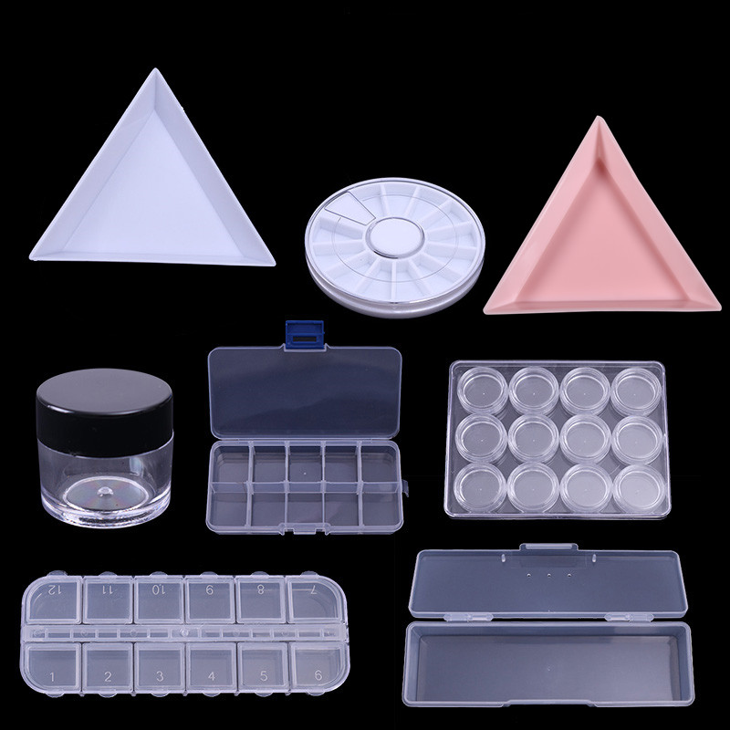 1Pc Plastic Triangular Rhinestone Nail Tips Decorations Container Cap Nail Art Tool Empty Box Storage Case Gems Accessories