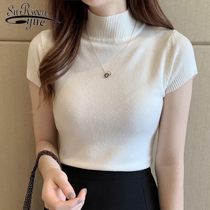 Casual de Malha Blusa Feminina Coreana Gola Alta Verão 2020 50