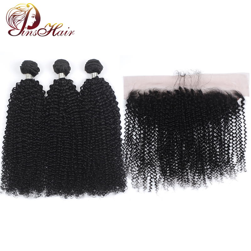 Pinshair Bundles With Closure Kinky Curly Brazilian Human Hair Weave Bundles With 13*4 Lace Frontal Non-Remy Human Hair Bundles